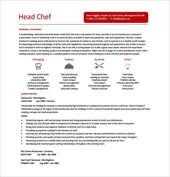 Good Head Chef Resume PDF Free Download