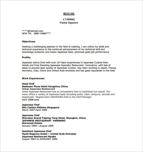 Chef Resume Template  14 Free