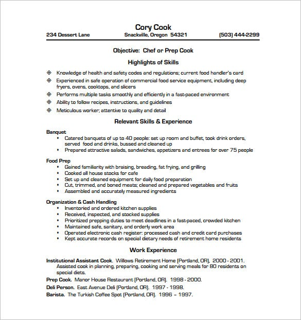 Great Cook Chef Resume PDF Free Download Intended Cook Sample Resume