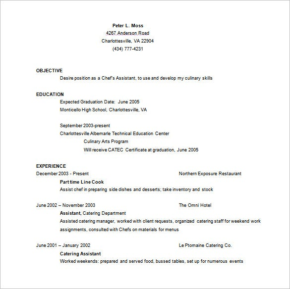 Chef Resume Template 12 Free Word Excel PDF PSD Format – Resume Template for Chef