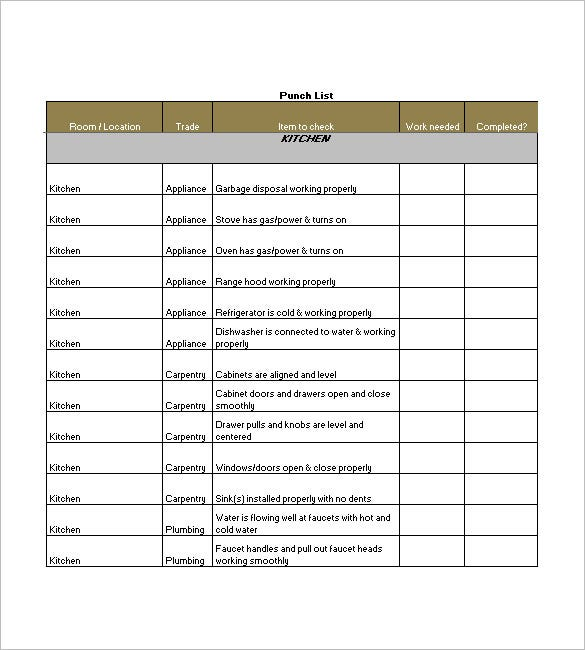 punch list template 8 free sample example format