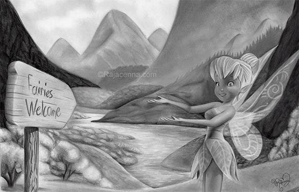 fairy cartoon pencil drawing for free