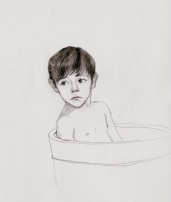 boy in bathing tub pencil drawing