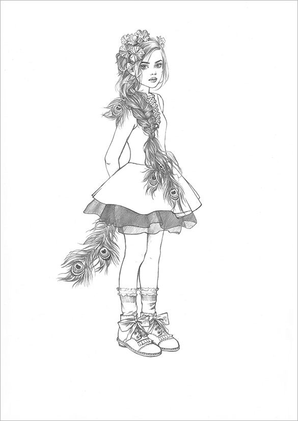 Beautiful elfs pencil drawing free download