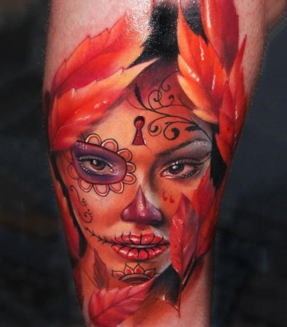 amazing girl tattoo on leg
