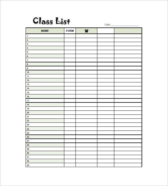 Class List Template   Free Sample Example Format Download