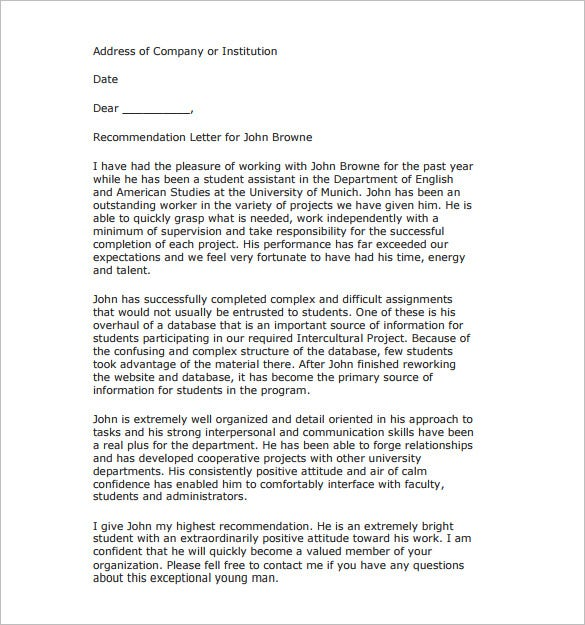 recommendation letter for a student pdf free download