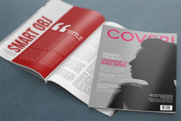 magazine psd mockup cover template for free