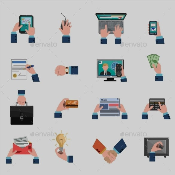 business hands icons set