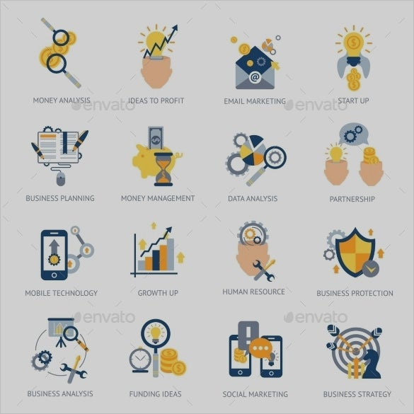business analysis icons collection