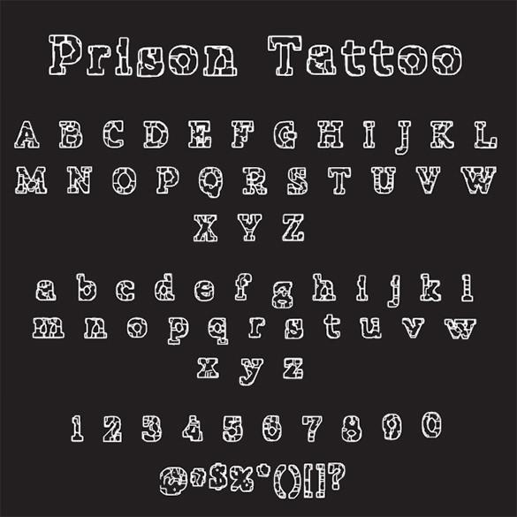 prison lettering tattoo free font