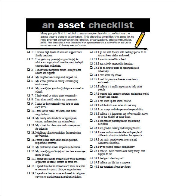 list of fixed assets