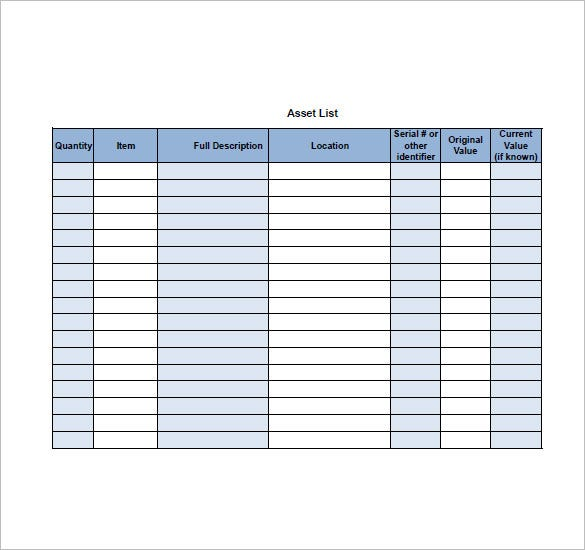 Asset List Template   Free Sample Example Format Download