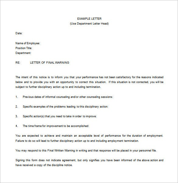 warning notice letter to employee free word download