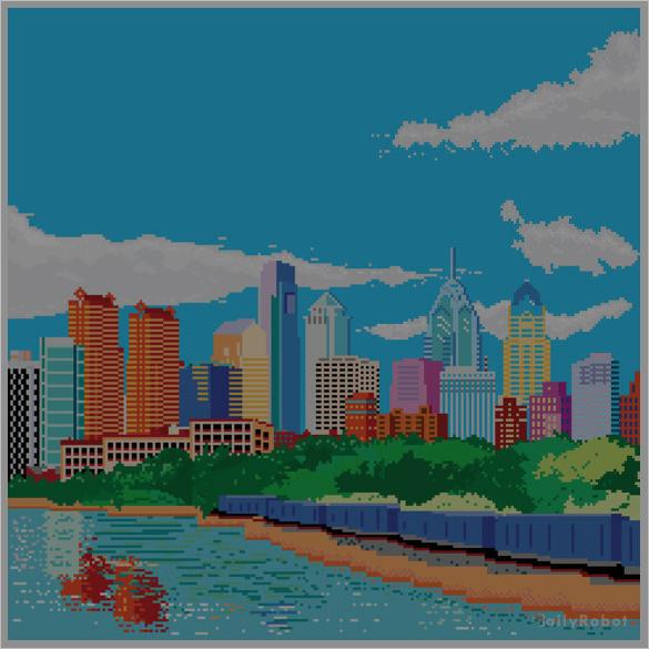download skyline pixel art