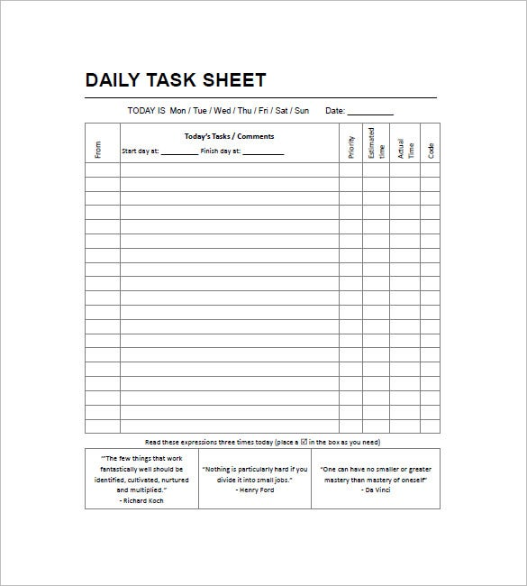 daily task list template