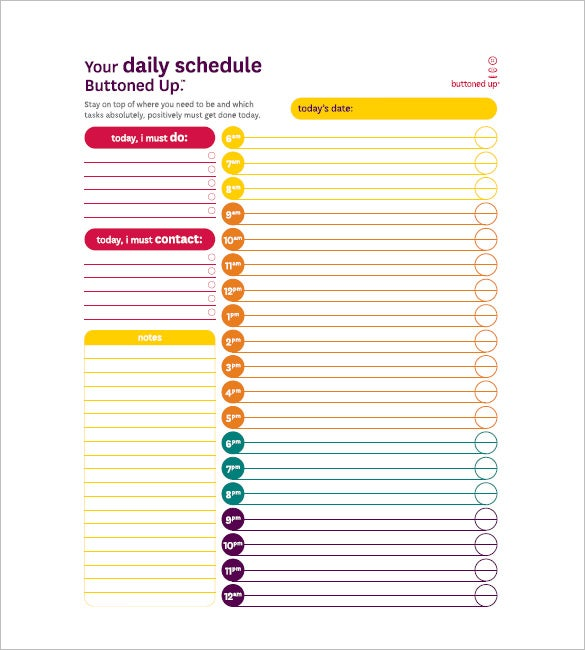 To Do Daily Schedule  Daily Task Checklist Template