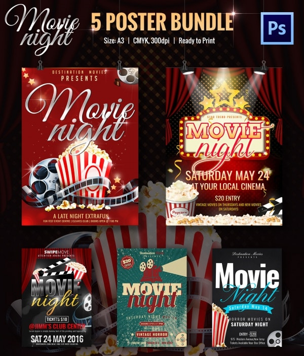 Movie Night PSD Posters Bundle