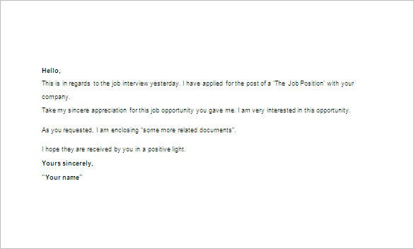 thanks email after interview