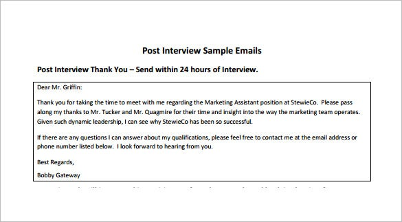 thank you email format after interview pdf free download