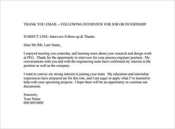 Thank You Email After Interview   Free Word Excel Pdf Format
