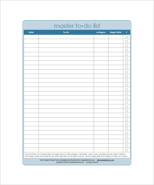 Weekly To Do List Template   Free Sample Example Format