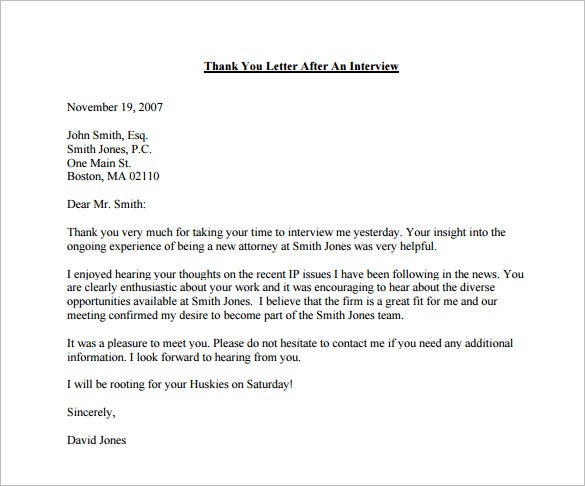 thank you letter after interview email pdf free downlaod