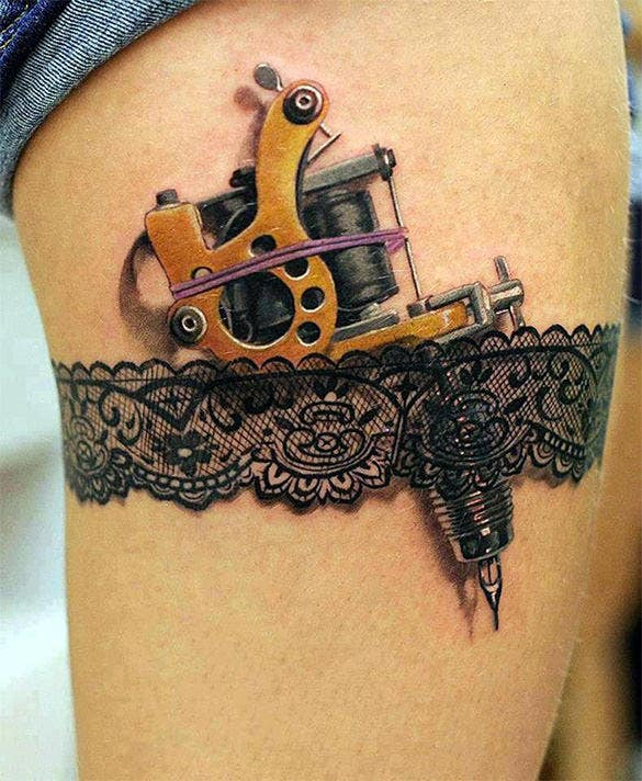 awesome tattoo gun and garter