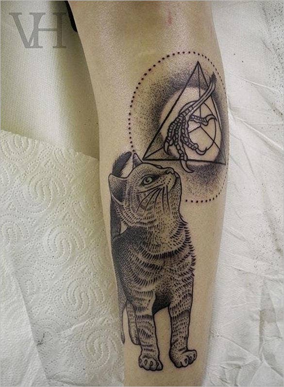 cat and claw tattoo