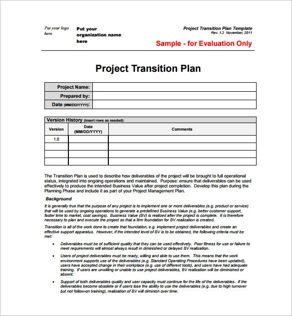 Project Management Transition Plan PDF Free Template