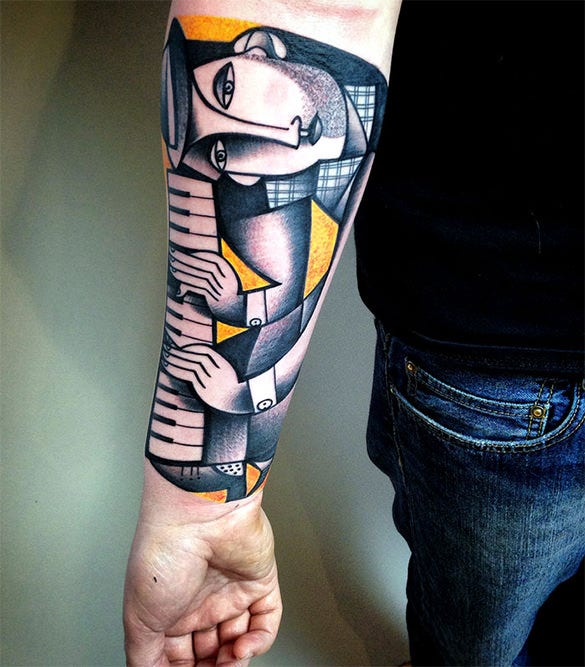 beautiful artistic tattoo on hand