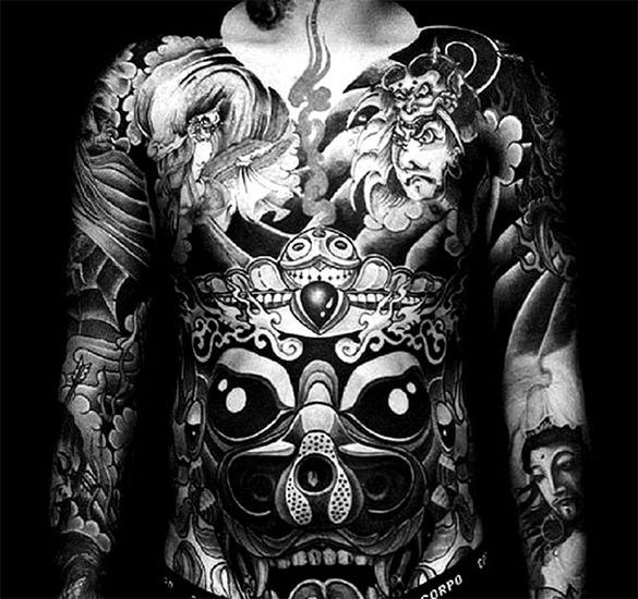 black and white full body tattoo