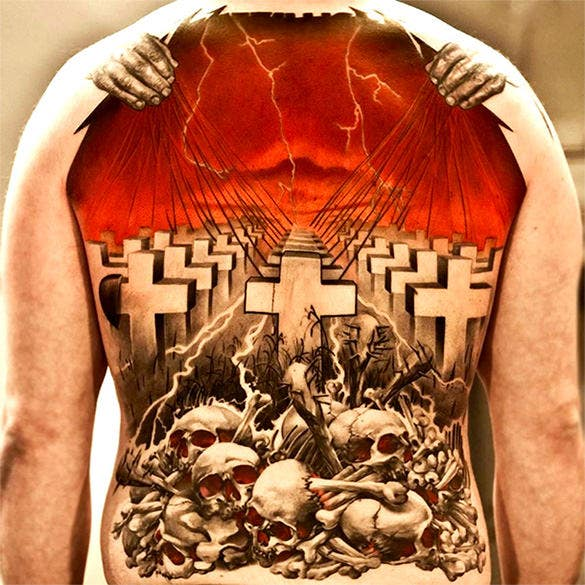 graveyard tattoo on his back