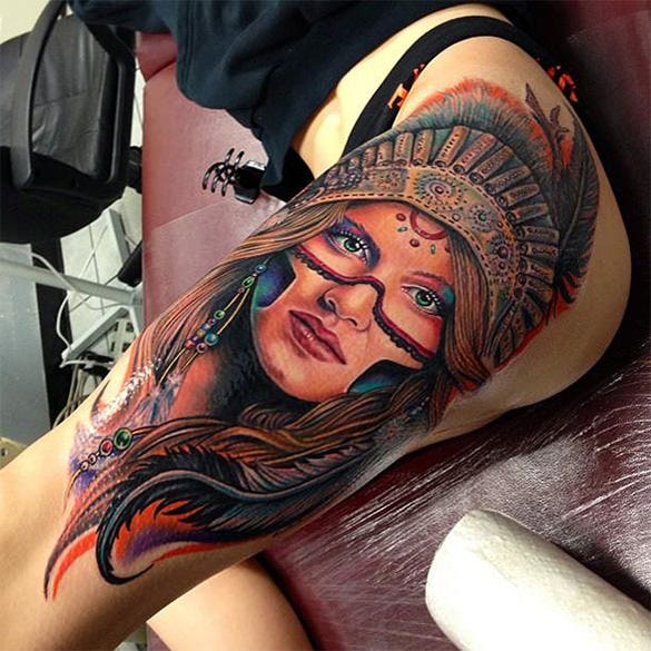glorious tattoo on thigh