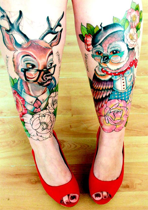 facinating dog and bird tattoo