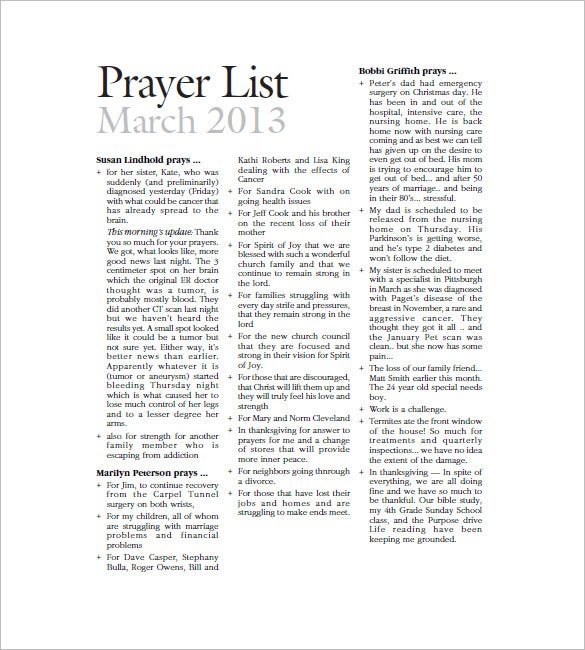 catholic prayer list template