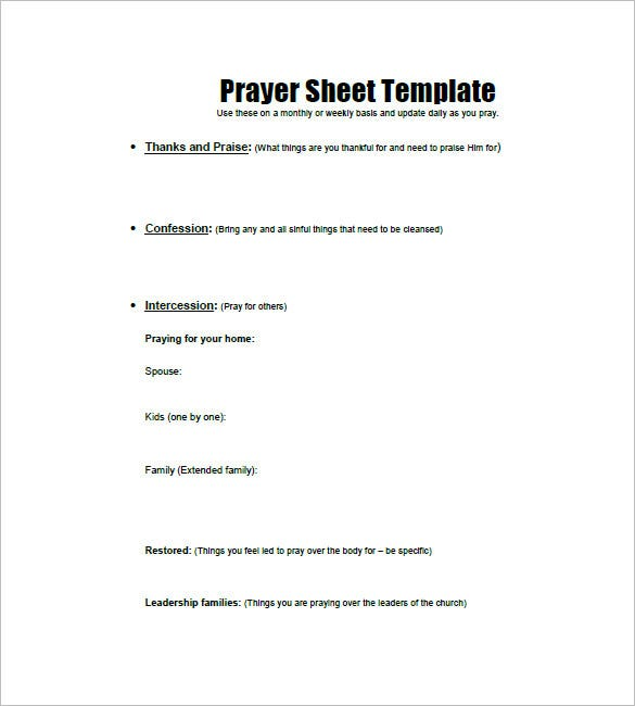 prayer list template  u2013 8  free sample  example  format