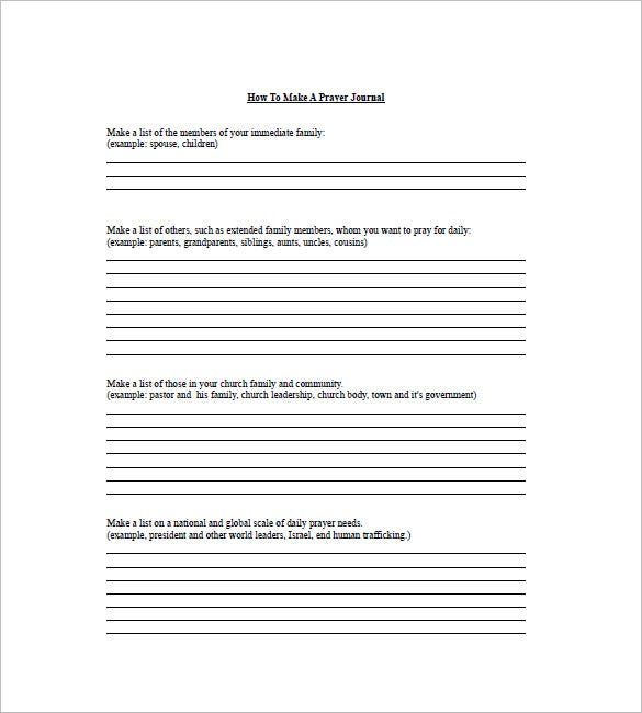 printable prayer list template
