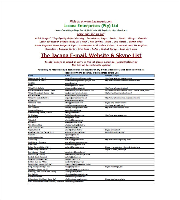 email list template  u2013 10  free sample  example  format