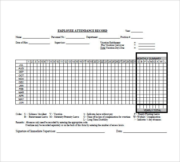 Attendance List Template   Free Sample Example Format Download