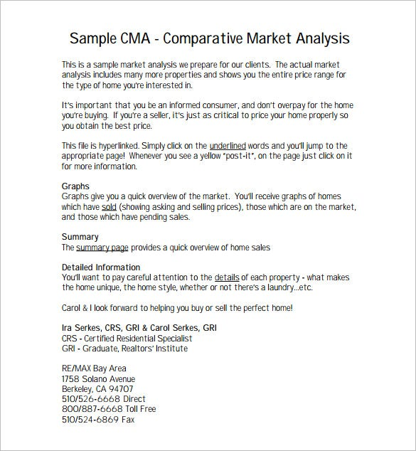 comparative market analysis pdf free template