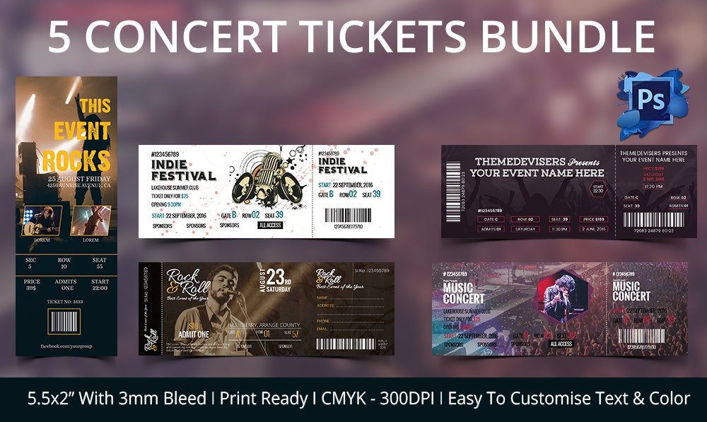 Concert Tickets Template Bundle