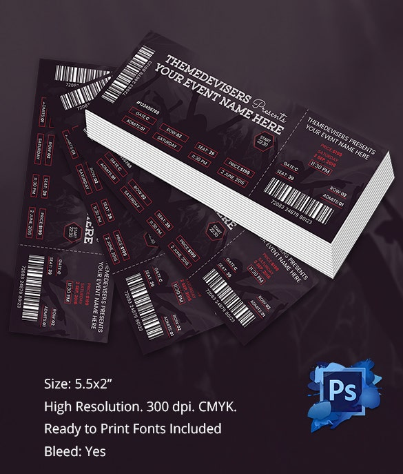 Ticket template 91 free word excel pdf psd eps formats download free premium templates for Concert ticket template psd