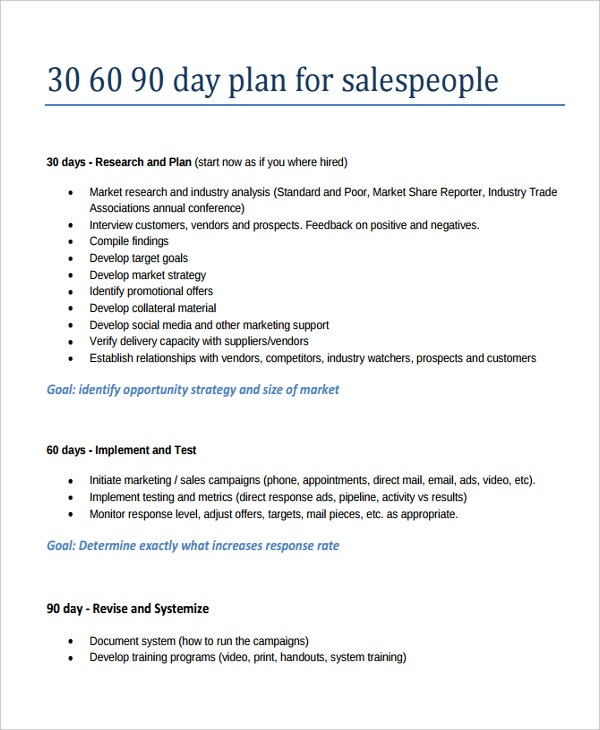 20 30 60 90 Day Action Plan Template Free Sample Example – How to Write a Sales Plan Template