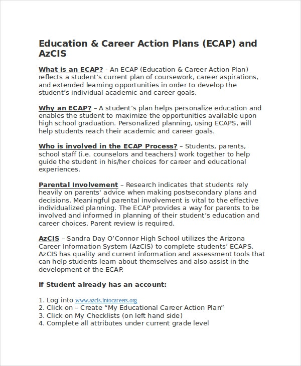 Education Career Action Plan Sample Template Download Includes The Details  That Are Needed To Be Followed To Ensure A Bright Future For The Kids.  Sample Career Goals