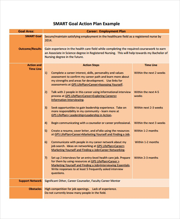 Career Action Plan Template   Free Sample Example Format
