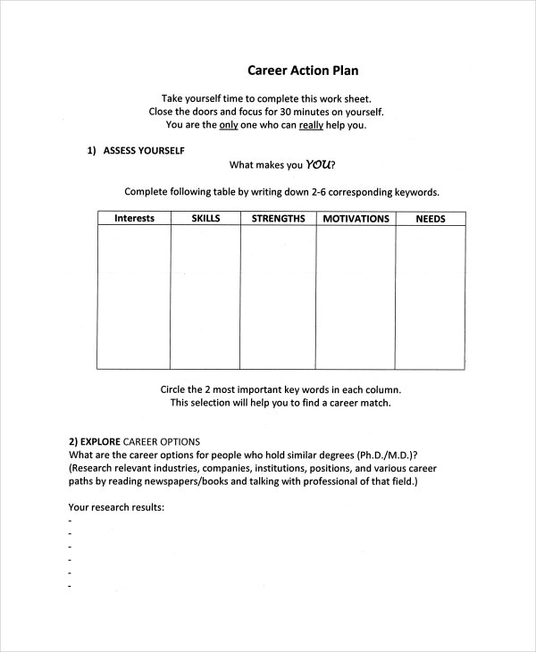 Sample Work Plan Template Career Action Plan Template Pdf Format