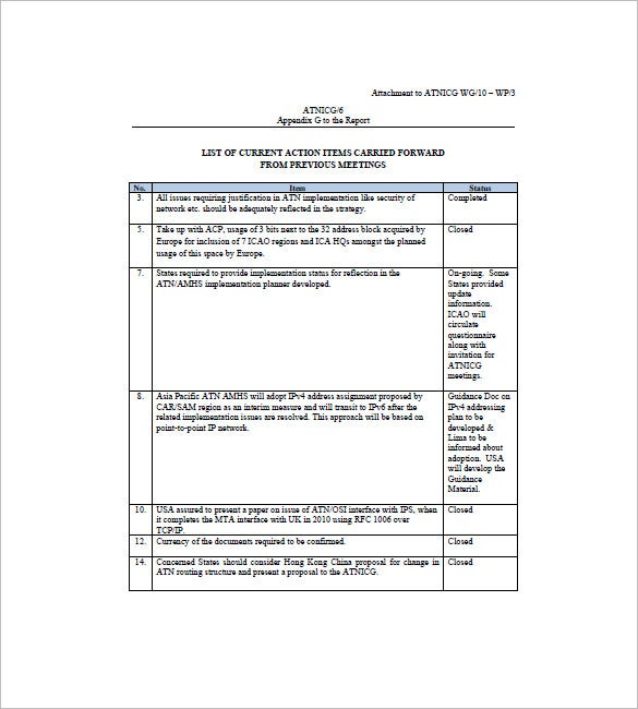 action list template free download