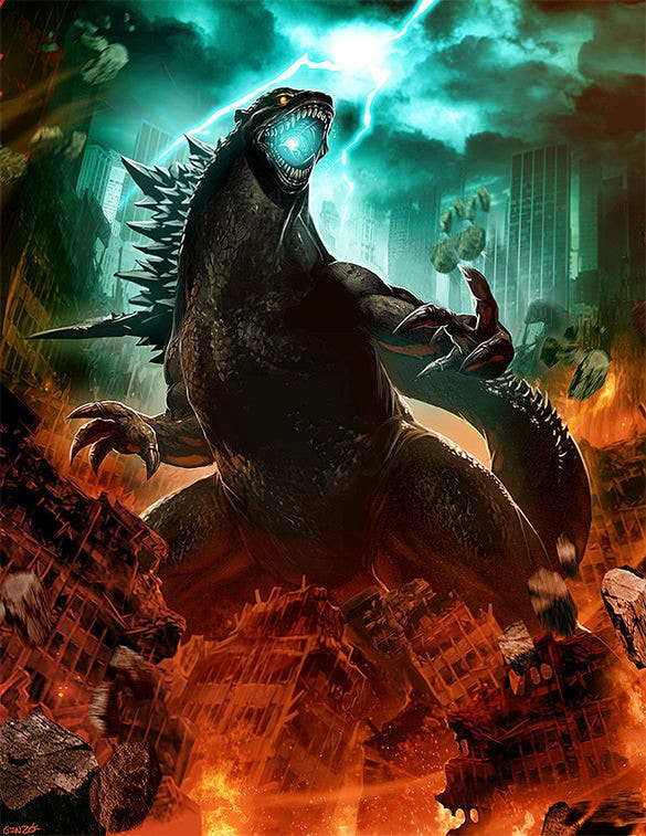 godzilla fantasy art design for you