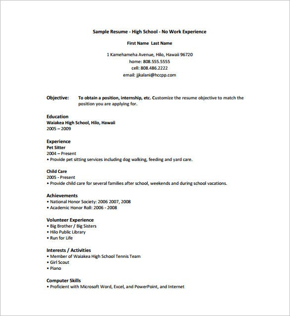 HIgh School Internship Resume Free PDF Download